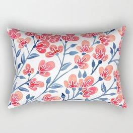 Cherry Blossoms – Melon & Navy Palette Rectangular Pillow