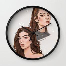 Lorde / digital portraits Wall Clock
