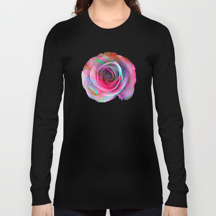Marble Colored Rose Long Sleeve T-shirt