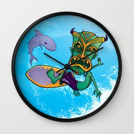 Tiki Surfer Wall Clock