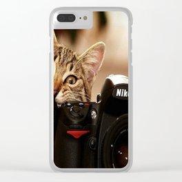 crazy cat Clear iPhone Case