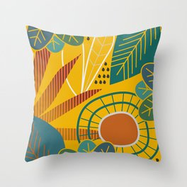 Golden tropical leaves Throw Pillow