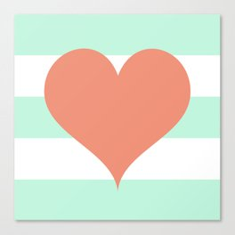 Large Heart on Stripes in Coral and Mint Canvas Print