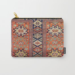 Southwestern Farmhouse V // 19th Century Colorful Red Yellow Blue Green Aztec Farm Stars Pattern Carry-All Pouch