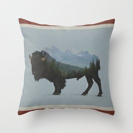 Wyoming Bison Flag Throw Pillow