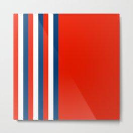 Retro Stripes Pop Art - Red White Blue Metal Print