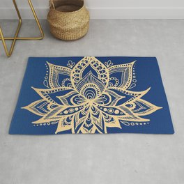 Gold and Blue Lotus Flower Mandala Rug