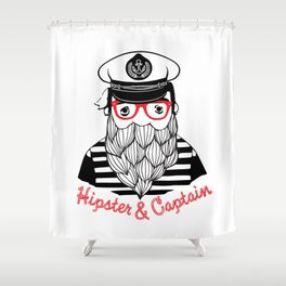 Captain & Hipster Shower Curtain