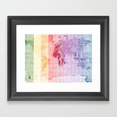 Rainbow World Map Framed Art Print