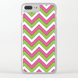 Pink Green and White Chevrons Clear iPhone Case