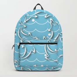 Dolphins rotating on the Sea Wave_D Backpack