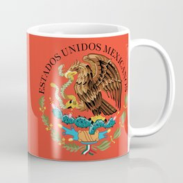Close up of the Seal from the flag of Mexico on Adobe red background Coffee Mug