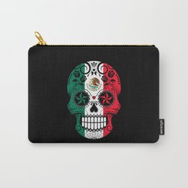 Sugar Skull with Roses and Flag of Mexico Carry-All Pouch