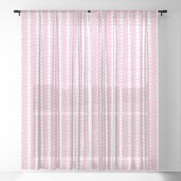 Tiny Triangles Stripes in Pink Sheer Curtain