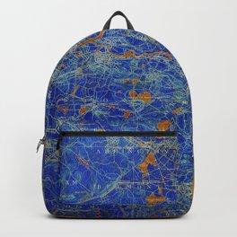 Boston Massachusetts 1893 colorful vintage old map. Orange and blue artwork Backpack