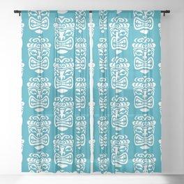 Tiki Pattern Turquoise Sheer Curtain