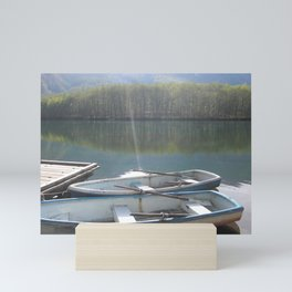Boats on a Mountain Lake Mini Art Print