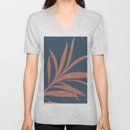 Blue Abstract Leaf Unisex V-Neck