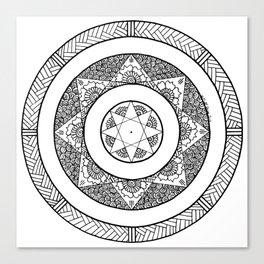 Flower Star Mandala - White Black Canvas Print