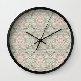 marbled green & pink pattern Wall Clock