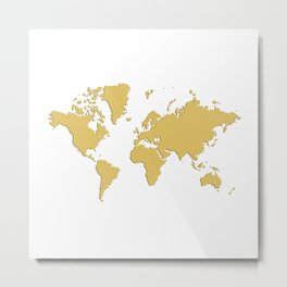 World with no Borders - gold Metal Print