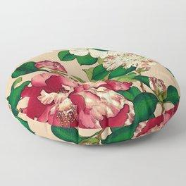 Vintage Japanese Camellias. Deep Pink on Beige Floor Pillow