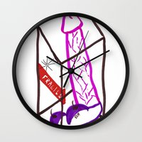 penis Wall Clocks featuring Fragile (Penis in a Box) by FABIO MIGGIANO_H13