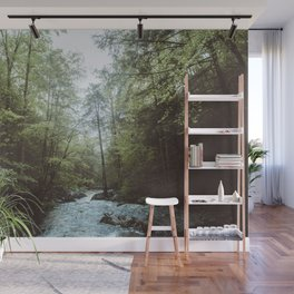 Peaceful Forest, Green Trees and Creek, Relaxing Water Sounds Wall Mural