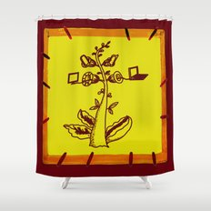 tree with a computer , telephone and other device Shower Curtain