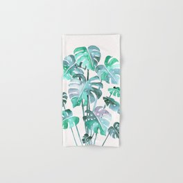 Delicate Monstera Blue And Green #society6 Hand & Bath Towel