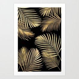 Gold Palm Leaves on Black Art Print
