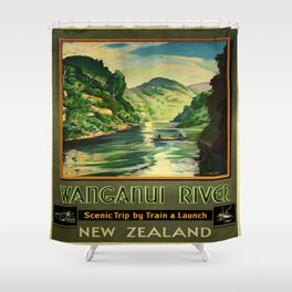 Vintage poster - Wanganui River Shower Curtain