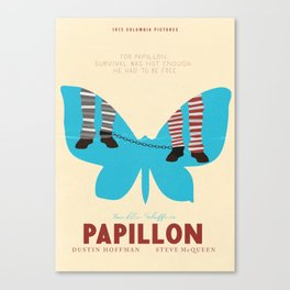 Papillon, Steve McQueen vintage movie poster, retrò playbill, Dustin Hoffman, hollywood film Canvas Print