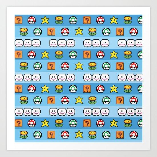 Pixel retro game Art Print