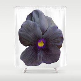 Black Viola Flower Shower Curtain