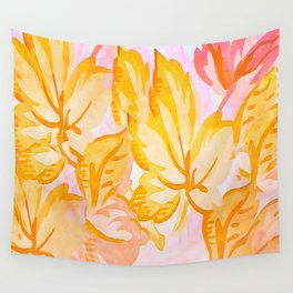 Soft Painterly Pastel Autumn Leaves Wall Tapestry