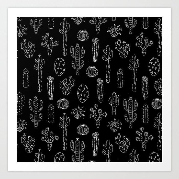 Cactus Silhouette White And Black Kunstdrucke
