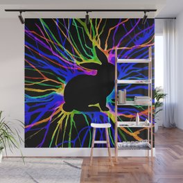 Electric Bunny At Night Wall Mural