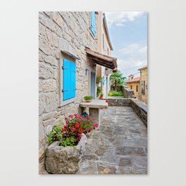 Town of Hum old cobbled street view Canvas Print