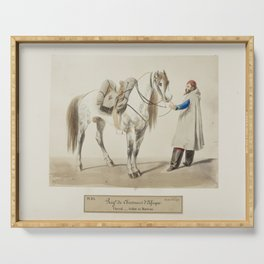Vintage Print - Uniforms of the French Army (1866) - African Rangers: Cloaked Ranger and Horse Serving Tray