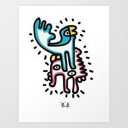 Street Art Graffiti Blue Bird of Summer and Pink Loved Friend Art Print