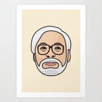 hayao miyazaki Art Prints featuring Hayao Miyazaki Portrait - Beige by Cedric S Touati
