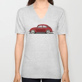 Legendary Classic Red Bug Vintage Retro Cool German Car Wall Art and T-Shirts Unisex V-Neck