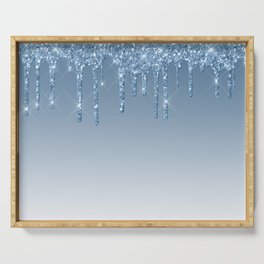 Blue Dripping Glitter Serving Tray