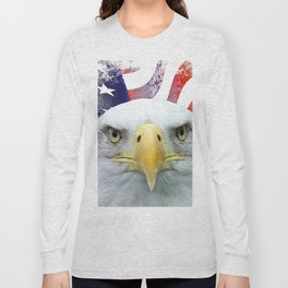 American Flag and Bald Eagle Long Sleeve T-shirt