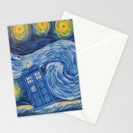 Starry Tardis Night Stationery Cards