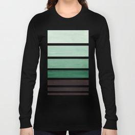 Deep Green Minimalist Watercolor Mid Century Staggered Stripes Rothko Color Block Geometric Art Long Sleeve T-shirt
