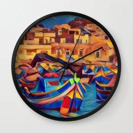 Marsaxlokk Maltese Fishing Boats Wall Clock