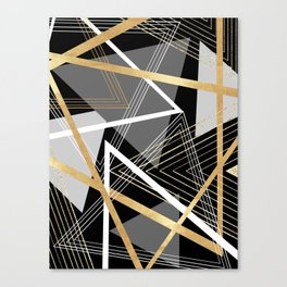 Original Gray and Gold Abstract Geometric Canvas Print