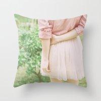 peach Throw Pillows featuring Peach by Mariam Sitchinava